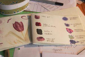 Farbproben von Mohn und Kornblume